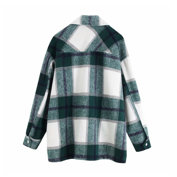 Vintage Stylish Pockets Oversized Plaid Jacket Coat Women 2019 Fashion Lapel Collar Long Sleeve Loose Outerwear 4 Vintage Stylish Pockets Oversized Plaid Jacket Coat Women 2019 Fashion Lapel Collar Long Sleeve Loose Outerwear Chic Tops