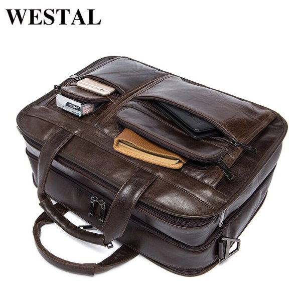 WESTAL men s genuine leather bag for men s briefcase office bags for men leather laptop 2 WESTAL men's genuine leather bag for men's briefcase office bags for men leather laptop bag document business briefcase handbag