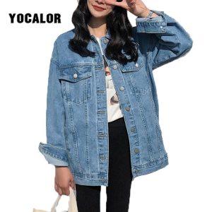 YOCALOR Solid Jean Jeans Jacket For Women Loose Casual Blue Women Coats Female Outwear Denim Feminine Innrech Market.com