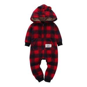 kid boy girl Long Sleeve Hooded Fleece jumpsuit overalls red plaid Newborn baby winter clothes Innrech Market.com
