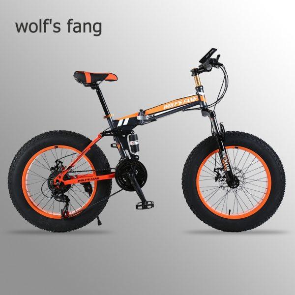 """wolf s fang Mountain Bike 20 x 4 0 Folding Bicycle 21 speed road bike fat wolf's fang Mountain Bike 20""""x 4.0 Folding Bicycle 21 speed road bike fat bike variable speed bike Mechanical Disc Brake"""