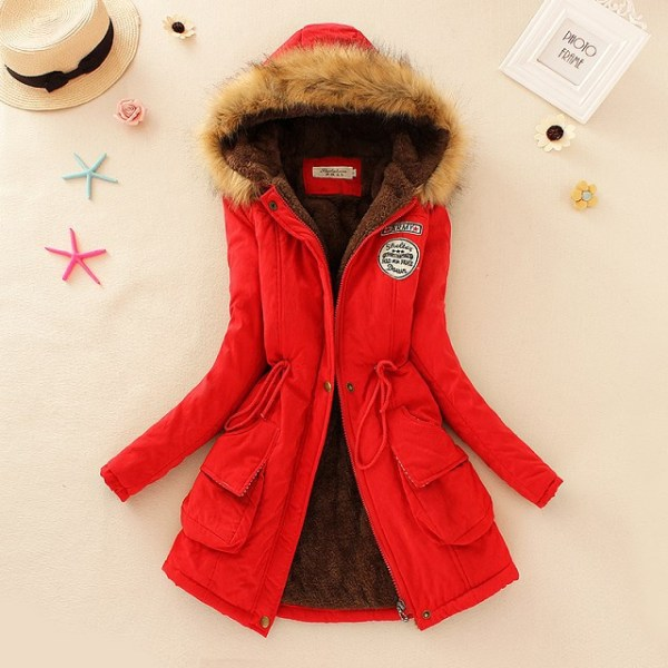 2019 Winter New Women s Hooded Fur Collar Waist And Velvet Thick Warm Long Cotton Coat 3 2019 Winter New Women's Hooded Fur Collar Waist And Velvet Thick Warm Long Cotton Coat Jacket Coat