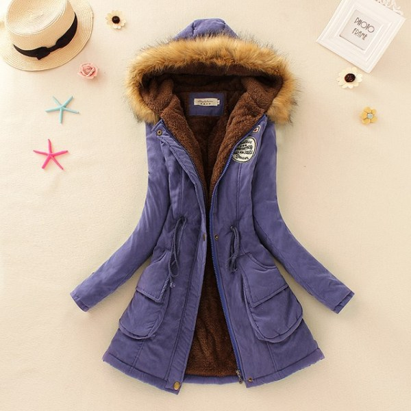 2019 Winter New Women s Hooded Fur Collar Waist And Velvet Thick Warm Long Cotton Coat 5 2019 Winter New Women's Hooded Fur Collar Waist And Velvet Thick Warm Long Cotton Coat Jacket Coat