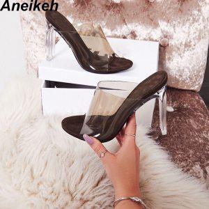 Aneikeh 2019 New PVC Jelly Sandals Crystal Open Toed Sexy Thin Heels Crystal Women Transparent Heel Innrech Market.com