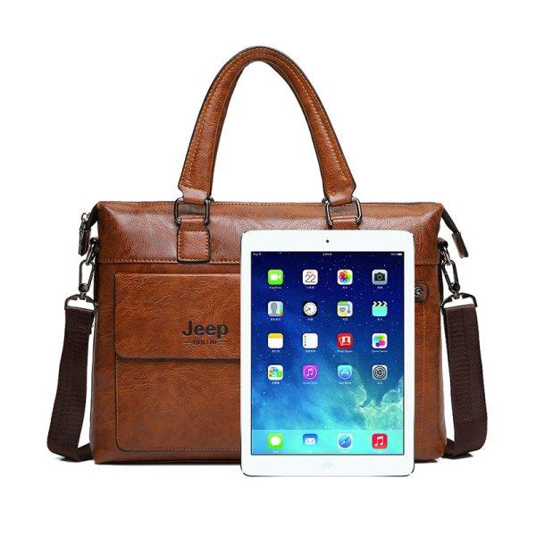 Famous Designer JEEP BULUO Brands Men Business Briefcase PU Leather Shoulder Bags For 13 Inch Laptop 3 Famous Designer JEEP BULUO Brands Men Business Briefcase PU Leather Shoulder Bags For 13 Inch Laptop Bag big Travel Handbag 6013