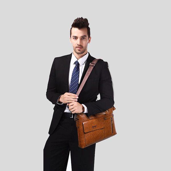 Famous Designer JEEP BULUO Brands Men Business Briefcase PU Leather Shoulder Bags For 13 Inch Laptop 4 Famous Designer JEEP BULUO Brands Men Business Briefcase PU Leather Shoulder Bags For 13 Inch Laptop Bag big Travel Handbag 6013