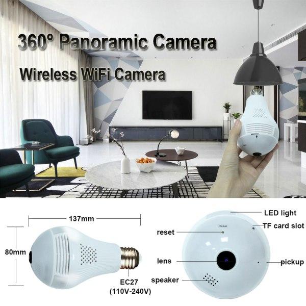 INQMEGA 360 Degree LED Light 960P Wireless Panoramic Home Security Security WiFi CCTV Fisheye Bulb Lamp 1 INQMEGA 360 Degree LED Light 960P Wireless Panoramic Home Security Security WiFi CCTV Fisheye Bulb Lamp IP Camera Two Ways Audio