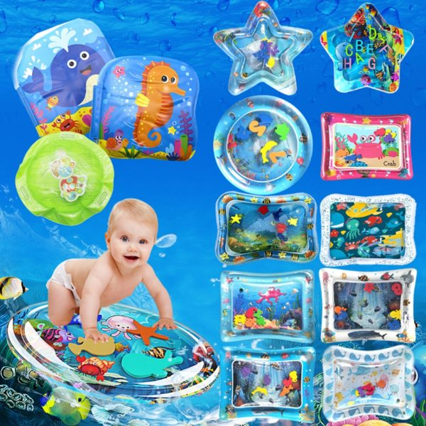 Inflatable Baby Water Mat Infant Tummy Time Playmat Toddler Fun Activity Play Center for Sensory Stimulation Inflatable Baby Water Mat Infant Tummy Time Playmat Toddler Fun Activity Play Center for Sensory Stimulation, Motor Skills