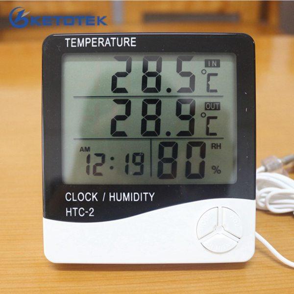 Ketotek Digital Thermometer Hygrometer Electronic LCD Temperature Humidity Meter Weather Station Home Indoor Outdoor Clock HTC Ketotek Digital Thermometer Hygrometer Electronic LCD Temperature Humidity Meter Weather Station Home Indoor Outdoor Clock HTC-2