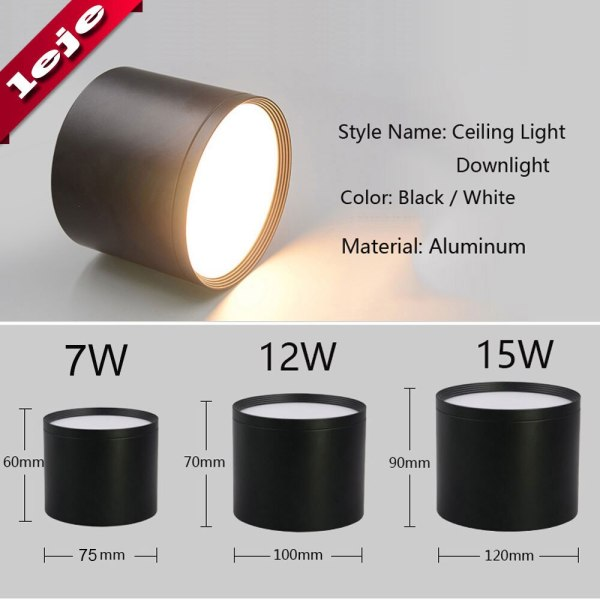 LED Ceiling light Surface mounted Dimmable Ceiling lamps Cylinder 7W 12W 15W for Bedroom Living room 1 LED Ceiling light Surface mounted Dimmable Ceiling lamps Cylinder 7W 12W 15W for Bedroom,Living room,study,office,shop,Studio