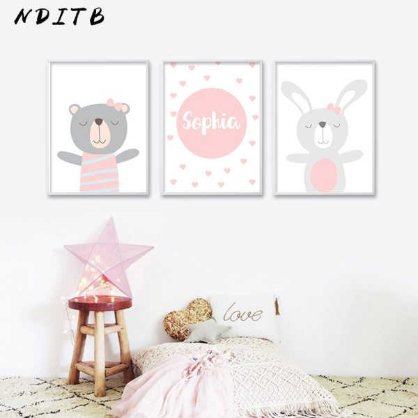 NDITB Cartoon Animal Canvas Painting Nursery Prints Personal Name Custom Poster Wall Picture Nordic Baby Girl 1 NDITB Cartoon Animal Canvas Painting Nursery Prints Personal Name Custom Poster Wall Picture Nordic Baby Girl Room Decoration