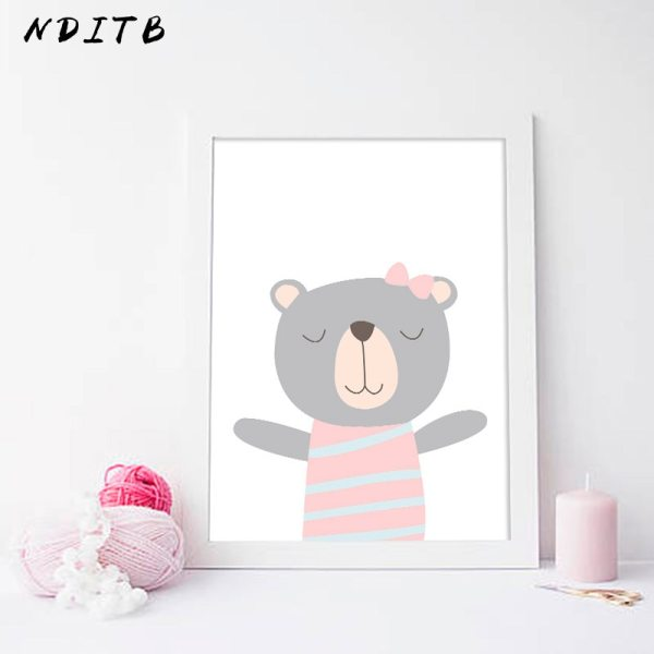 NDITB Cartoon Animal Canvas Painting Nursery Prints Personal Name Custom Poster Wall Picture Nordic Baby Girl 3 NDITB Cartoon Animal Canvas Painting Nursery Prints Personal Name Custom Poster Wall Picture Nordic Baby Girl Room Decoration