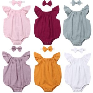 Newborn Toddler Baby Girls Clothes Sleeveless Romper Jumpsuit Solid Outfits Baby Clothing Innrech Market.com