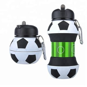 Novelty Football Sports Water Bottle with Straw Foldable Collapsible Travel Silicone My Bottles Innovating Camping 550ml Innrech Market.com