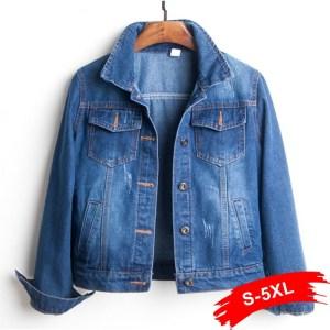 Plus Size Ripped Hole Cropped Jean Jacket 4Xl 5Xl Light Blue Bomber Short Denim Jackets Jaqueta Innrech Market.com