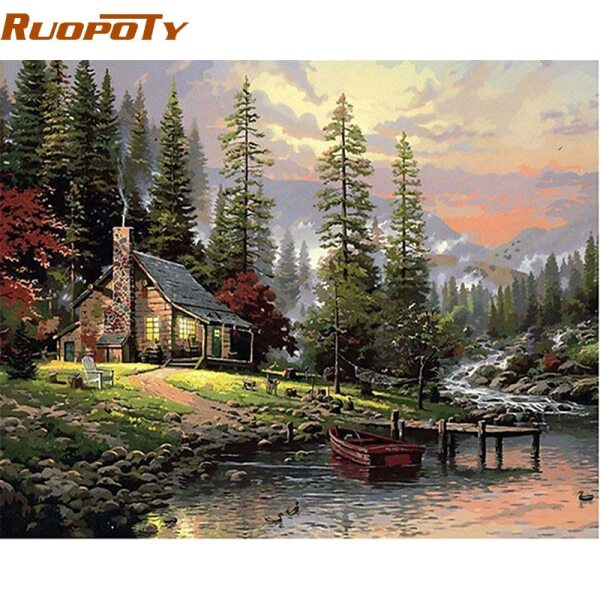 RUOPOTY Frame Field House Landscape DIY Painting By Number Handpainted Oil Painting Wall Art Picture For RUOPOTY Frame Field House Landscape DIY Painting By Number Handpainted Oil Painting Wall Art Picture For Home Decoration 40x50cm