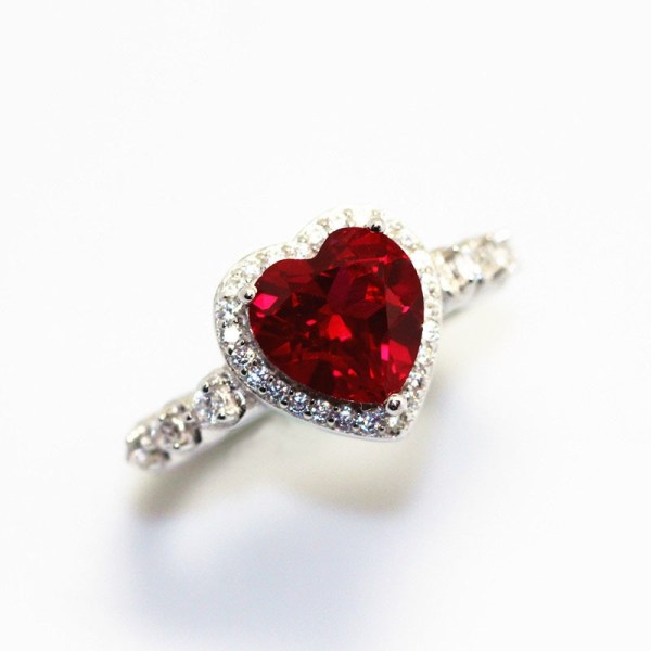 Red Ruby Heart Shape Gemstone Sterling 925 Silver Wedding Rings For Women Bridal Fine Jewelry Engagement 1 Red Ruby Heart Shape Gemstone Sterling 925 Silver Wedding Rings For Women Bridal Fine Jewelry Engagement Bague Accessories