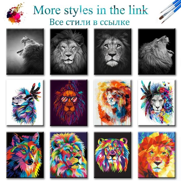 SDOYUNO 60x75cm Frame DIY Painting By Numbers Kits Colorful Lions Animals Hand Painted Oil Paint By 1 SDOYUNO 60x75cm Frame DIY Painting By Numbers Kits Colorful Lions Animals Hand Painted Oil Paint By Numbers For Home Decor Art
