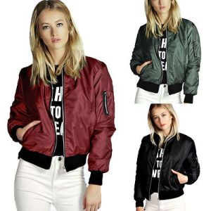 Spring Apparel cool basic bomber jacket Women Army Green jacket coat zipper biker outwear Jackets Innrech Market.com