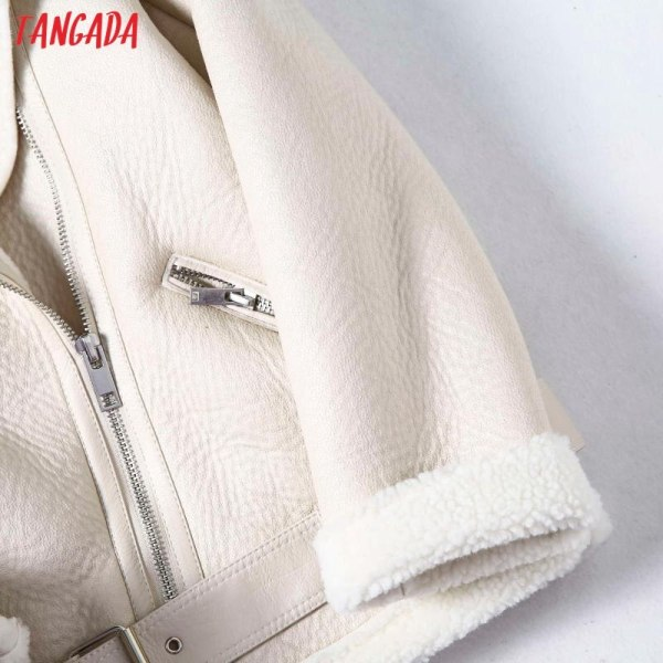 Tangada Women beige fur faux leather jacket coat with belt turn down collar Ladies 2019 Winter 1 Tangada Women beige fur faux leather jacket coat with belt turn down collar Ladies 2019 Winter Thick Warm Oversized Coat 5B01