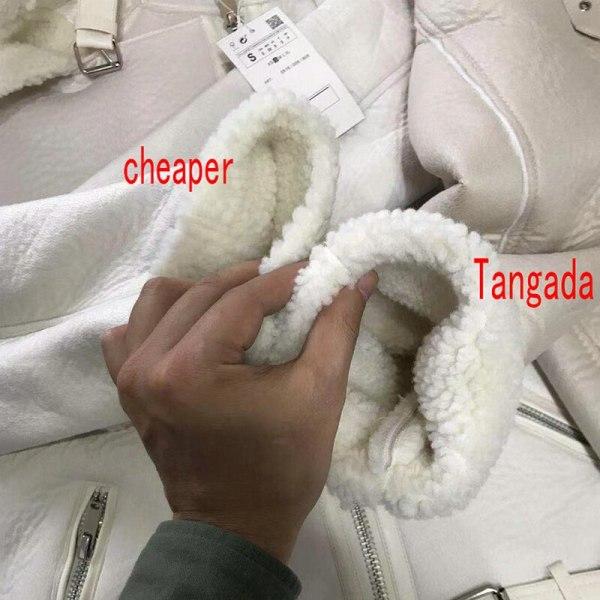Tangada Women beige fur faux leather jacket coat with belt turn down collar Ladies 2019 Winter 4 Tangada Women beige fur faux leather jacket coat with belt turn down collar Ladies 2019 Winter Thick Warm Oversized Coat 5B01