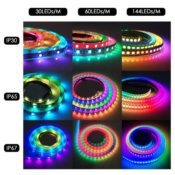 WS2812B DC 5V LED Strip RGB 50CM 1M 2M 3M 4M 5M 30 60 144 LEDs 4 WS2812B DC 5V LED Strip RGB 50CM 1M 2M 3M 4M 5M 30/60/144 LEDs Smart Addressable Pixel Black White PCB WS2812 IC 17Key Bar