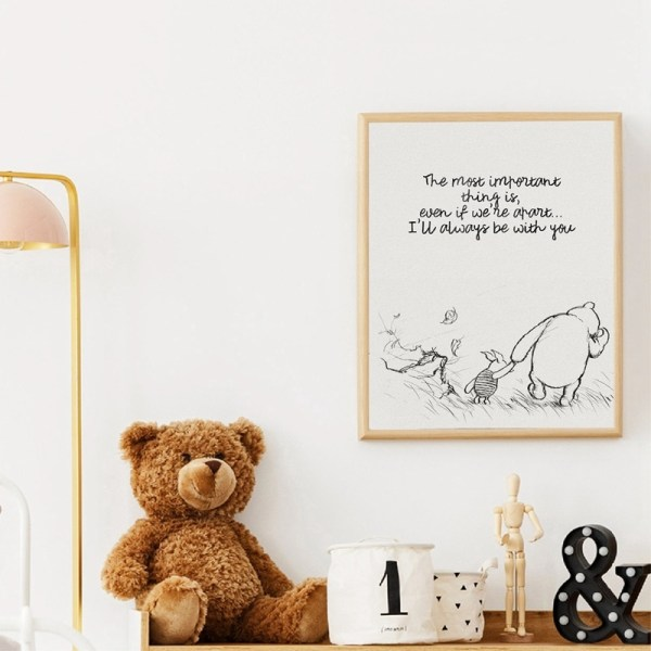 Winnie The Pooh Quotes Canvas Posters and Prints Classic Cartoon Movie Art Painting Black White Picture 3 Winnie The Pooh Quotes Canvas Posters and Prints Classic Cartoon Movie Art Painting Black White Picture Kids Room Wall Art Decor