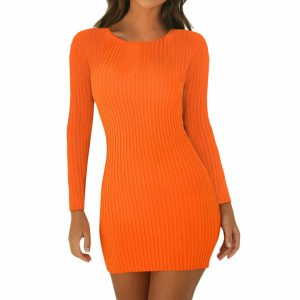 Women Pencil Bodycon Dress Spring Autumn Women Long Sleeve Solid Dresses Ladies Skinny Slim Knitted Stretch Innrech Market.com