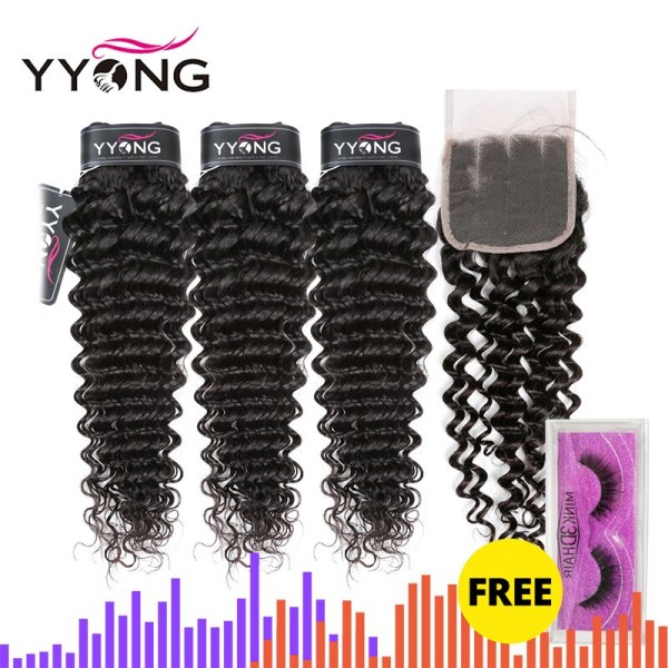 Yyong Hair Brazilian Deep Wave Human Hair 3 Bundles With 4 4 Lace Closure Remy Brazilian Yyong Hair Brazilian Deep Wave Human Hair 3 Bundles With 4*4 Lace Closure Remy Brazilian Hair Bundles With Closure Tissage