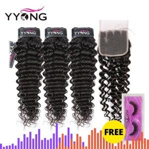 Yyong Hair Brazilian Deep Wave Human Hair 3 Bundles With 4 4 Lace Closure Remy Brazilian Innrech Market.com