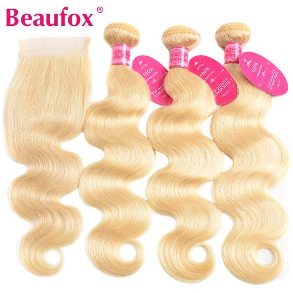 Beaufox 613 Blonde Bundles With Closure Brazilian Body Wave 3 Bundles With Closure Blonde Human Hair Beaufox 613 Blonde Bundles With Closure Brazilian Body Wave 3 Bundles With Closure Blonde Human Hair Bundles With Closure Remy