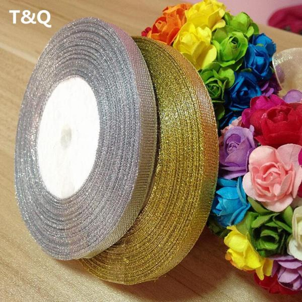 Gold silver ribbon 25 yards 22M metal shiny For wedding party Christmas decoration DIY craft cake 3 Gold silver ribbon 25 yards 22M metal shiny For wedding party Christmas decoration DIY craft cake gift bow packaging ribbon