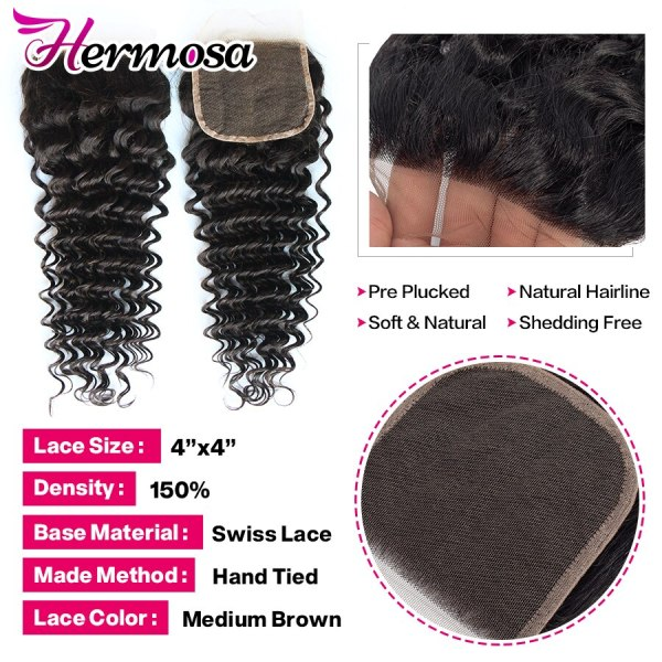 Hermosa Brazilian Deep Wave Bundles With Closure Double Weft Non Remy Human Hair Bundles With Closure 4 Hermosa Brazilian Deep Wave Bundles With Closure Double Weft Non-Remy Human Hair Bundles With Closure Natural Black Middle Ratio