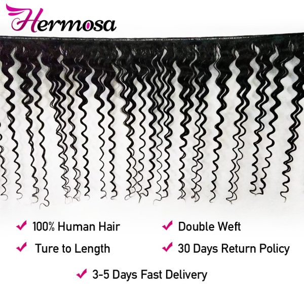 Hermosa Brazilian Deep Wave Bundles With Closure Double Weft Non Remy Human Hair Bundles With Closure Hermosa Brazilian Deep Wave Bundles With Closure Double Weft Non-Remy Human Hair Bundles With Closure Natural Black Middle Ratio