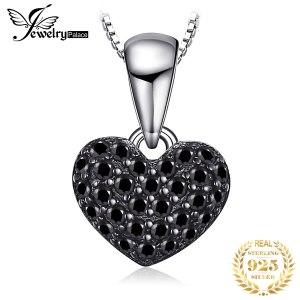 JPalace Heart Natural Black Spinel Pendant Necklace 925 Sterling Silver Gemstones Choker Statement Necklace Women Without Innrech Market.com