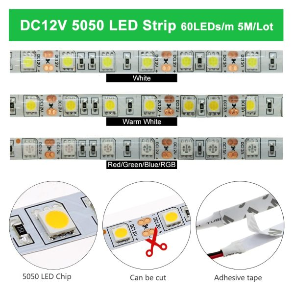 LED Strip 5050 2835 DC12V Flexible LED Light Tape 60LEDs M White Warm White Blue Green LED Strip 5050 2835 DC12V Flexible LED Light Tape 60LEDs/M White / Warm White / Blue / Green / Red Waterproof RGB LED Strip 5M