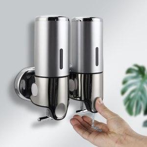 Liquid Soap Dispenser Wall Mounted Shower Gel Dispensers Shampoo Container Pump Double Hand Bathroom Soap Bottle Innrech Market.com