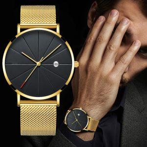 Luxury Fashion Business Watches Men Super Slim Watches Stainless Steel Mesh Belt Quartz Watches Gold Watches Innrech Market.com