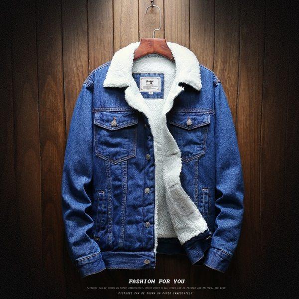 Men Light Blue Winter Jean Jackets Outerwear Warm Denim Coats New Men Large Size Wool Liner 1 Men Light Blue Winter Jean Jackets Outerwear Warm Denim Coats New Men Large Size Wool Liner Thicker Winter Denim Jackets Size6XL