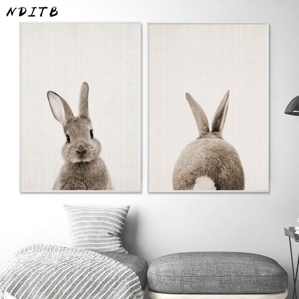 NDITB Rabbit Bunny Butt Tail Canvas Art Poster Woodland Baby Animal Nursery Print Painting Wall Picture 1 NDITB Rabbit Bunny Butt Tail Canvas Art Poster Woodland Baby Animal Nursery Print Painting Wall Picture for Living Room Decor