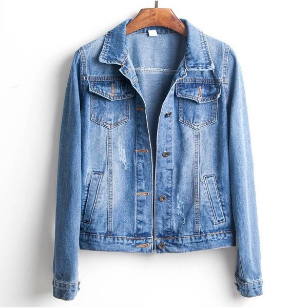 Plus Size Ripped Hole Cropped Jean Jacket 4Xl 5Xl Light Blue Bomber Short Denim Jackets Jaqueta 1 Plus Size Ripped Hole Cropped Jean Jacket 4Xl 5Xl Light Blue Bomber Short Denim Jackets Jaqueta Long Sleeve Casual Jeans Coat