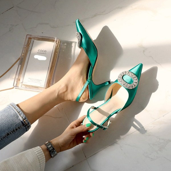 Summer new stiletto pointed high heel rhinestone buckle sandals Satin Korean version of the wild Baotou Summer new stiletto pointed high heel rhinestone buckle sandals Satin Korean version of the wild Baotou female cool shoes
