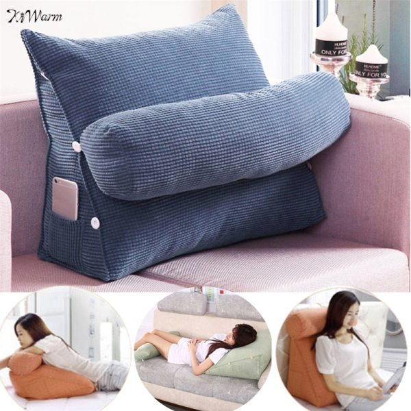 Triangle Sofa Cushion Back Pillow Bed Backrest Office Chair Pillow Support Waist Cushion Lounger TV Reading Triangle Sofa Cushion Back Pillow Bed Backrest Office Chair Pillow Support Waist Cushion Lounger TV Reading Lumbar Home Decor