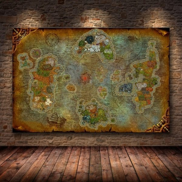 Unframed The Poster Decoration Painting of World of Warcraft 8 0 Map on HD Canvas Wall Unframed The Poster Decoration Painting of World of Warcraft 8.0 Map on HD Canvas Wall Pictures for Living Room oil painting