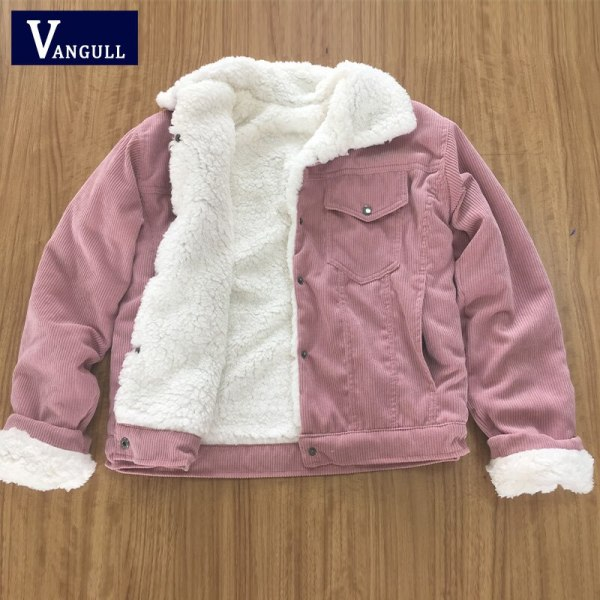 VANGULL Women Winter Jacket Thick Fur Lined Coats Parkas Fashion Faux Fur Lining Corduroy Bomber Jackets 2 VANGULL Women Winter Jacket Thick Fur Lined Coats Parkas Fashion Faux Fur Lining Corduroy Bomber Jackets Cute Outwear 2019 New