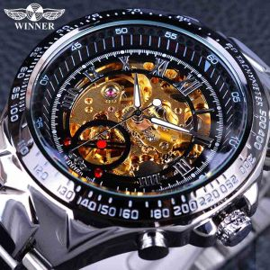 Winner Classic Series Golden Movement Steel Mens Skeleton Man Wrist Watch Mechanical Top Brand Luxury Fashion Innrech Market.com