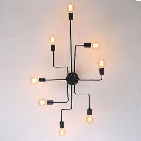 4 6 8 Heads Multiple Rod Wrought Iron Ceiling Light Retro Industrial Loft Nordic Dome Lamp 2 4/6/8 Heads Multiple Rod Wrought Iron Ceiling Light Retro Industrial Loft Nordic Dome Lamp for Home Decor Dinning Cafe Bar
