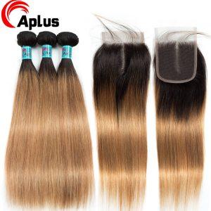 Aplus Hair Peruvian Ombre Bundles With Closure Straight 1B 27 Honey Blonde Bundles With Closure NonRemy Innrech Market.com