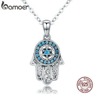 BAMOER Genuine 925 Sterling Silver Trendy Fatima s Guarding Hand Pendant Necklaces Women Fine Silver Jewelry Innrech Market.com
