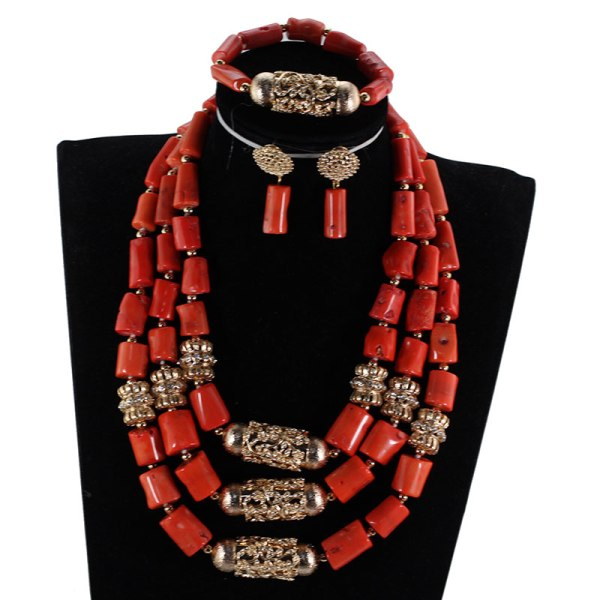 Big Real Coral Bead Traditional Nigerian Wedding African Coral Beads Jewelry Set Women Party Anniversary Gift Big Real Coral Bead Traditional Nigerian Wedding African Coral Beads Jewelry Set Women Party Anniversary Gift Jewelry CNR885